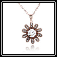 Korean Fashion Jewelry Gold Plated Sun Flower Necklace New Design Wholesale JHJ0153