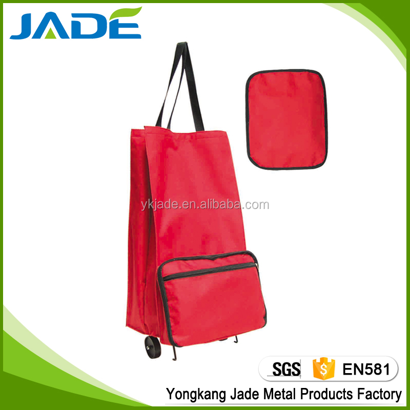 600D polyester folding shopping trolley cart, innovative promotional shopping trolley bags with wheels