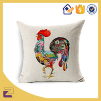 Cock Design Throw Pillow Cases Creative Animal Pattern Woven Floor Cushion Covers