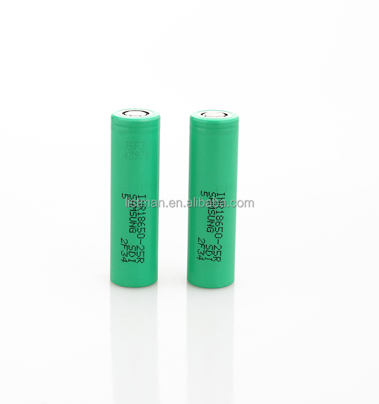 3.7v green 18650 25R High Discharge Rate Battery 2500mAh 20A Samsung 25R green