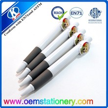 2015 OEM accept hot sale white lovely dog plastic ball pen for students and offices