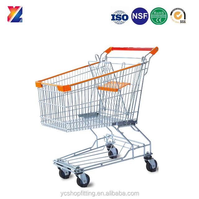 Chrome plated 100L steel wire hand shopping supermarket trolley sale