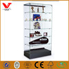 Sports shop glass MDF wooden display showcase design for hats and shoes