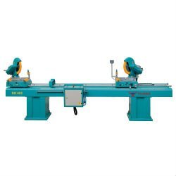 Double head miter saw with circular saw blades designed for double head, single head and straight or angular cutting of PVC and
