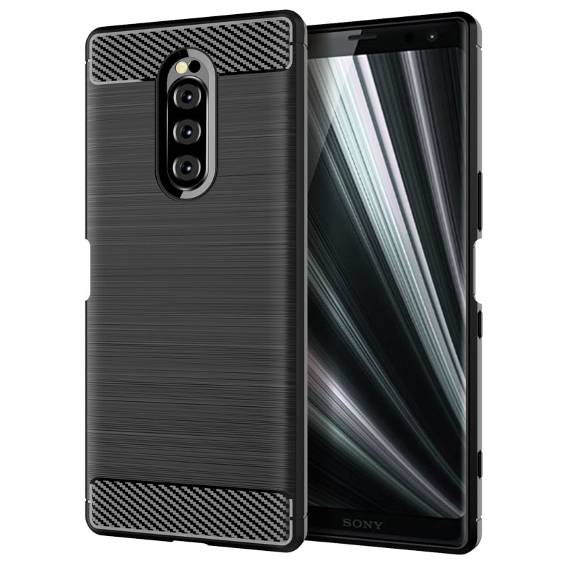 Carbon Fiber Wire Drawing Shockproof Soft TPU Back Cover Phone Case 대 한 Sony Xperia Xz4