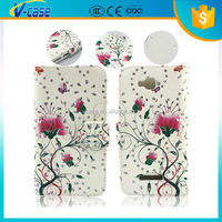 Colored printing leather flip case for sony xperia neo l mt25i
