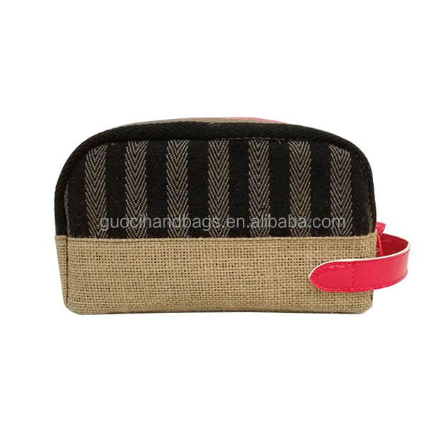 2017 newest custom jute cosmetic bag for women