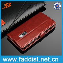 High quality flip leather cover case for One Plus 2 with wallet stand