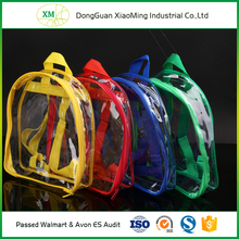 Recyclable silk-screen customized pvc transparent backpack bag
