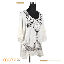 Summer hand hook knitted pullover lace fringe cut blouse floral designs for wholesale