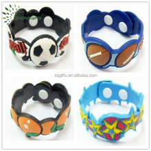 Manufacturer cartoon child bracelet with button clasp soft pvc rubber material