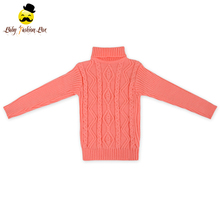 High Neck Long Sleeve Knitting Wool Girls Winter Children Sweater Latest Fashion Sweater Designs For Kids