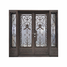 New Design Safety Simple Cheap Modern Wrought Iron Grill Window Gate Double Door
