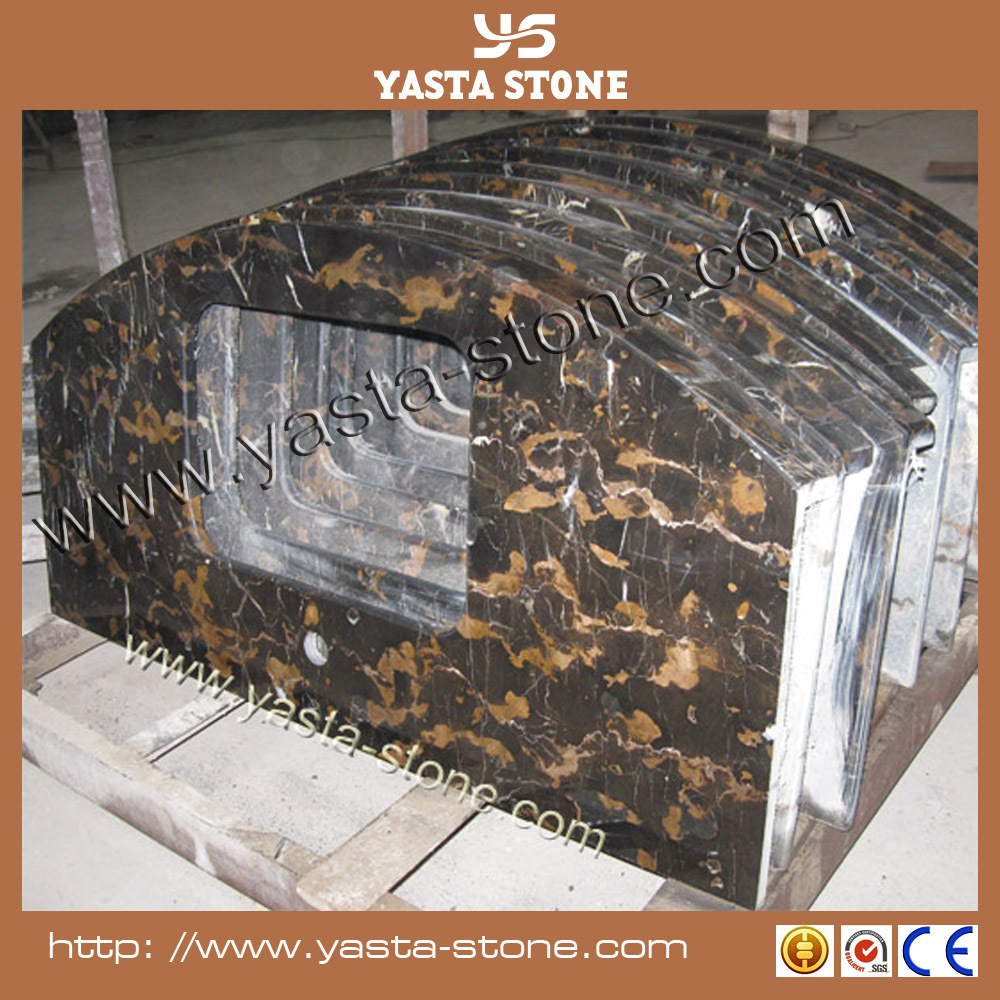 Black and gold marble black portoro for countertop & tiles
