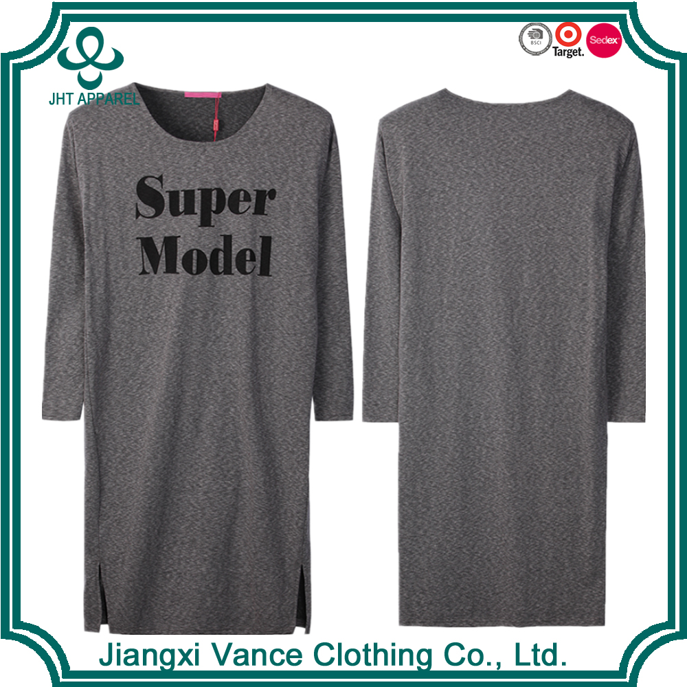 New style women dress printing t-shirt dress long sleeve cuffed grey t shirt dress