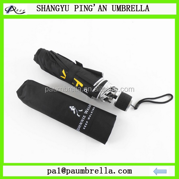 High quality 3 folding advertise umbrella rubber handle giveaway folding umbrella