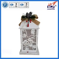 White wood led lantern,wooden lantern,antique wood candle lanterns for christmas decorations
