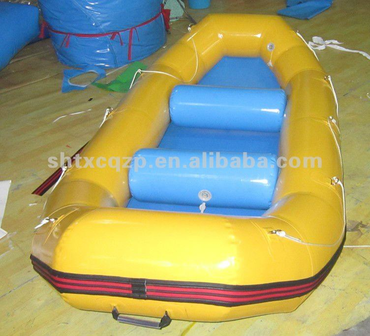 yellow inflatable raft boat