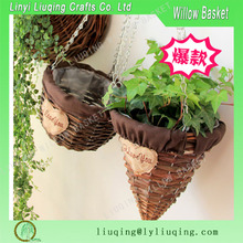 horn hanging wicker flower basket with iron chain