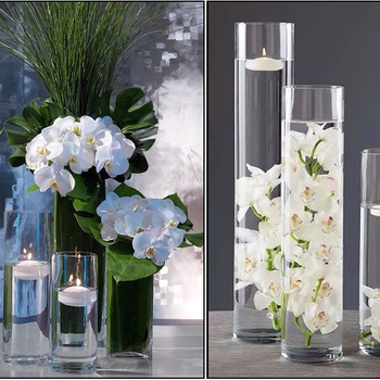 Hot Sale Factory Beautiful Large Tall Slim Clear Cylinder Glass Vase For Decor