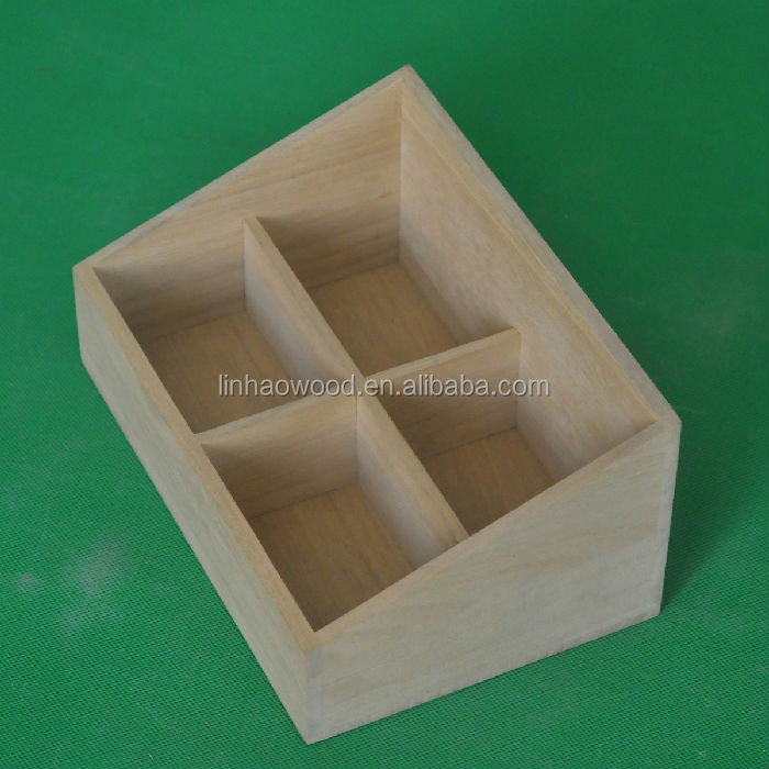 100% Solid Wooden Soap Box with 4 Departments
