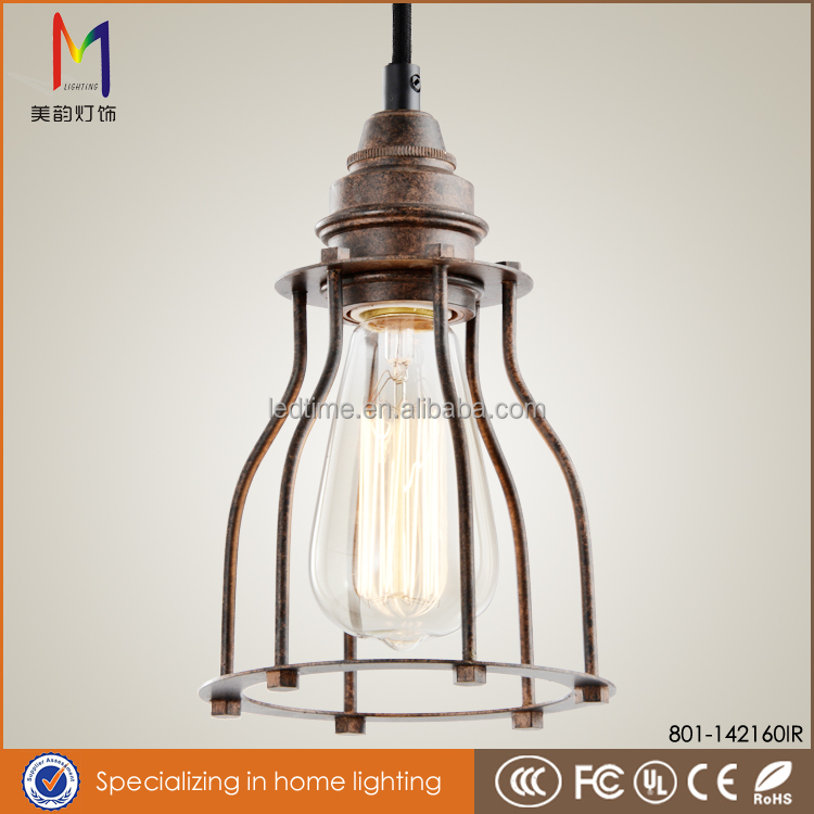 Bestselling Products Industrial Edison Mini Metal Cage Hanging light iron rust