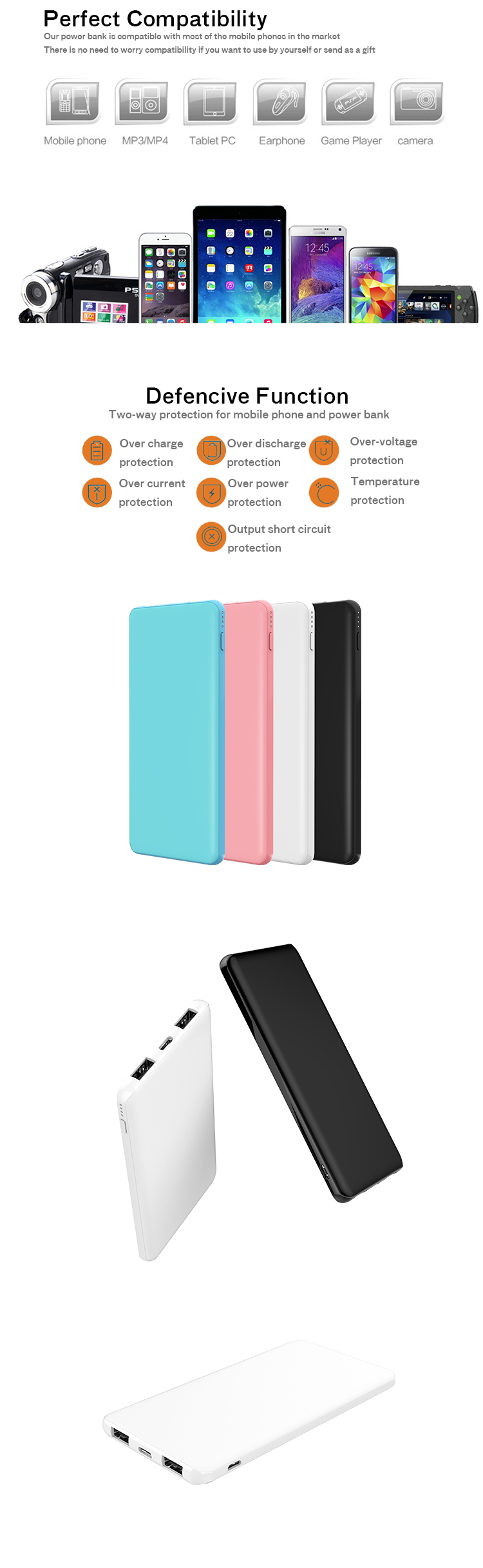 Best seller credit card size polymer ultra thin type c android powerbank super slim promotional small universal power bank