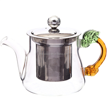 Fashion Wholesale Professional Made middle east glass tea cooking pot with infuser,amber glass bottle