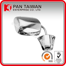 "UNIVERSAL TYPE TRUCK & VAN CAR MIRROR, R=L, 6 3/4"" X 8 3/4"", CHROME ABS/STAINLESS STEEL, BELOW EYE LEVEL DESIGN"