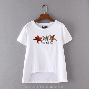 monroo New Fashion Women's O-Neck Short Sleeve Stars Patch White T-shirt Leasure Summer Tees Causal Wear T shirt T007