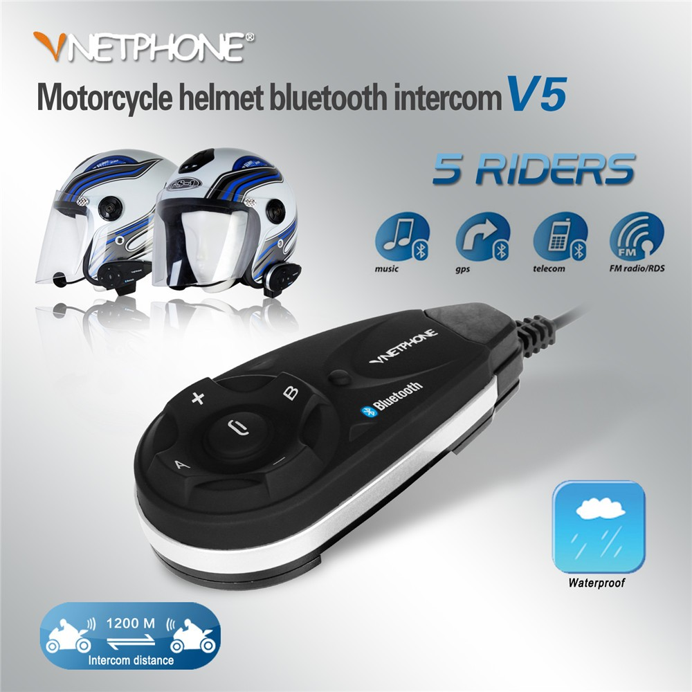 V5 Bluetooth 3.0+EDR waterproof 1200M handsfree wireless helmet headset BT motorcycle helmet bluetooth headset intercom with FM