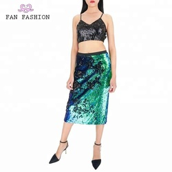 Party reversible sequin knee length bodycon midi skirt sexy ladies dress