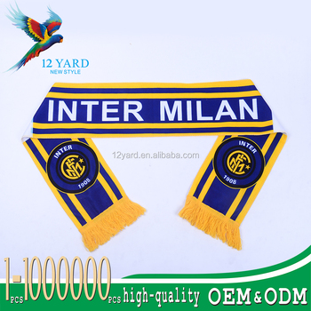 hot sell fashion customized printed designs inter milan soccer fan scarf