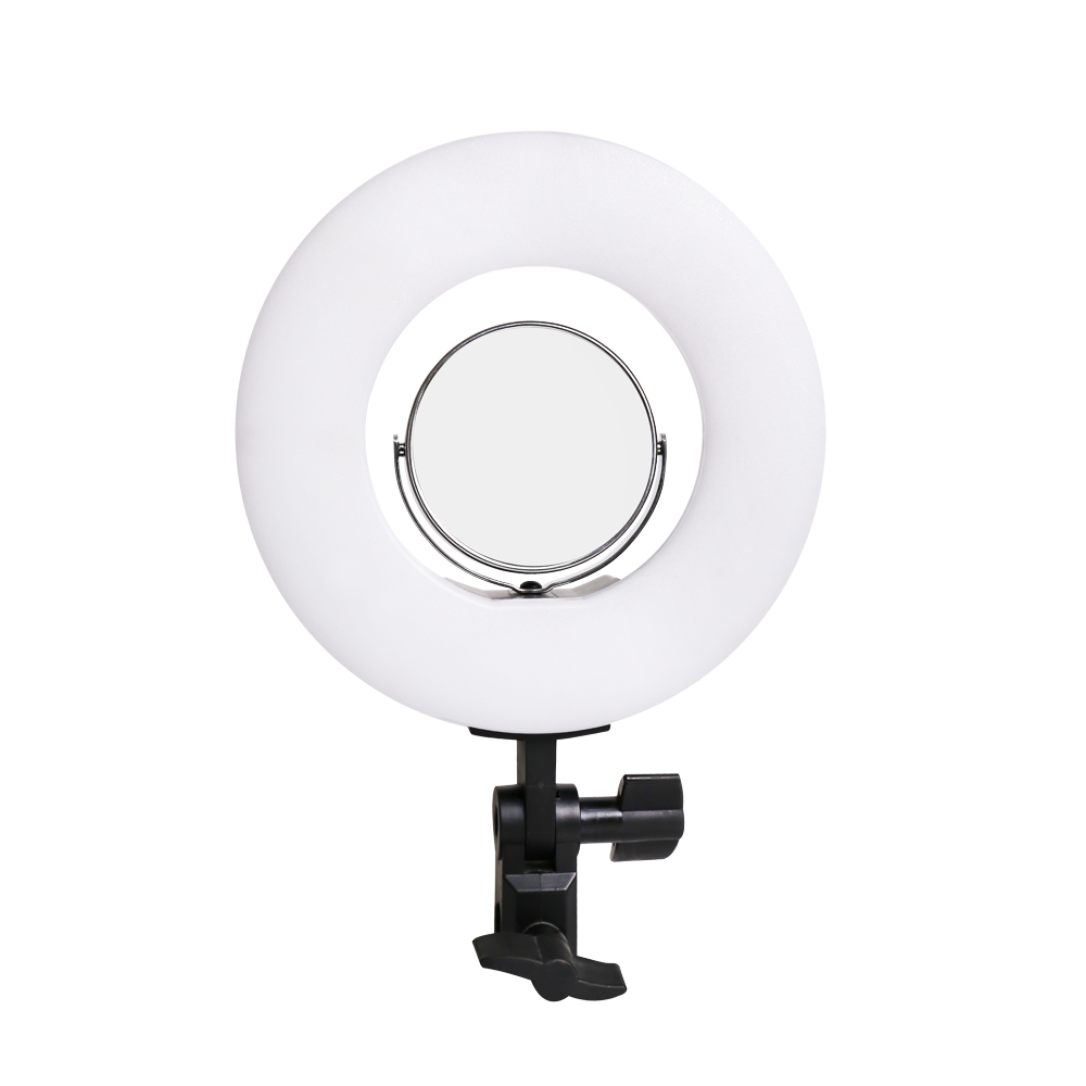 8inch table clip selfie ring light 24W 5500K photo studio fill lights with makeup mirror