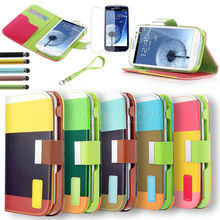 Hybrid PU Leather Wallet Flip Pouch Case For Samsung Galaxy S3 I9300 + Pen