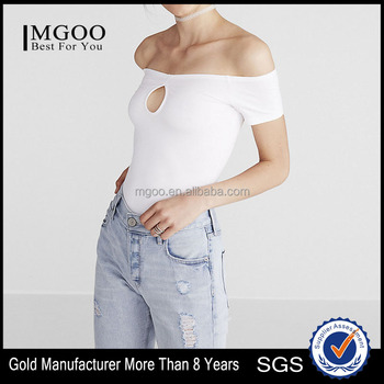 MGOO Women's Sexy Tight T-shirt Plain Organic Cotton T-shirts Off The Shoulder Keyhole White Tee