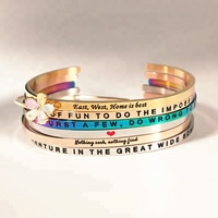 Wholesale Christian Motivational Stainless Steel Mantra Engraved Cuff Inspiration Bracelet