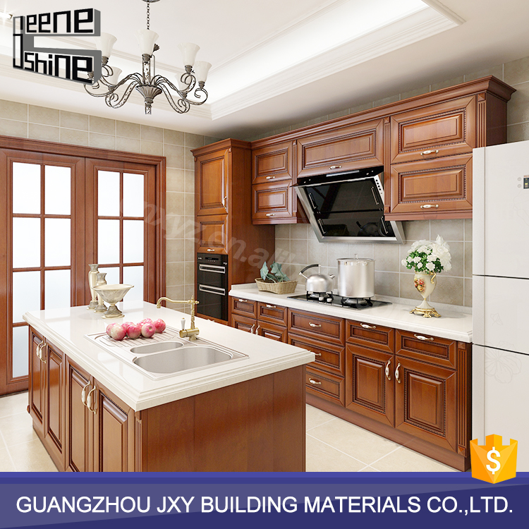 Brown color modern design modular solid wood kitchen cabinet direct from china
