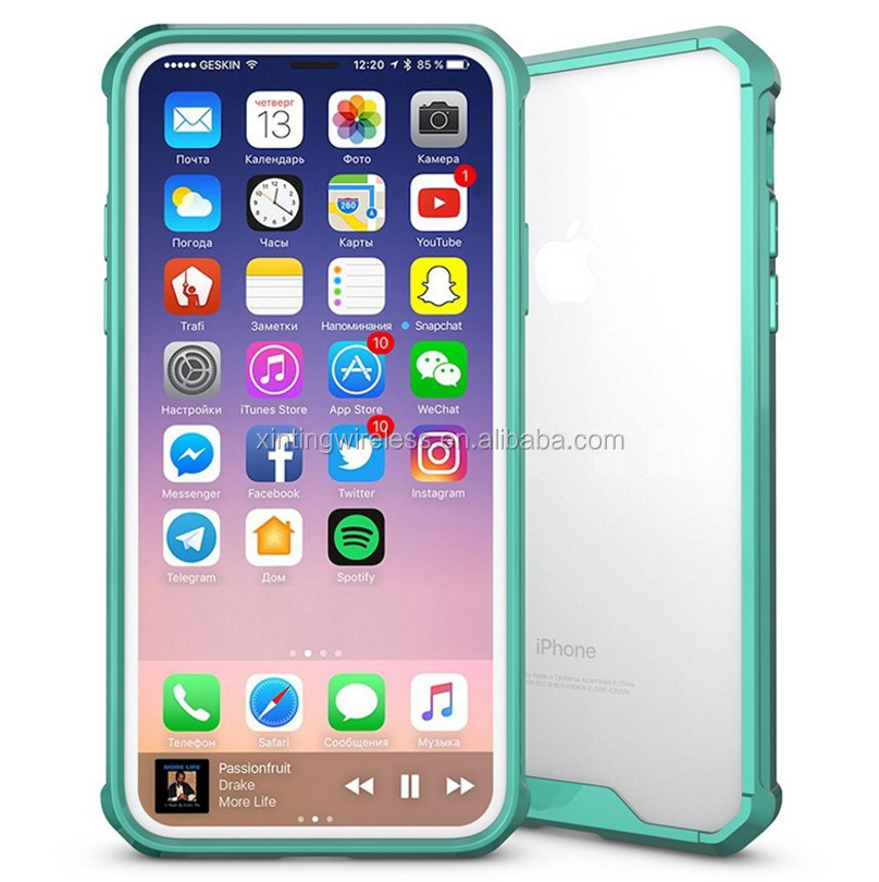 Phone Accessories Transparent Acrylic +TPU bumper Armor Clear Shockproof Phone case for iPhone 8 Hybrid Crystal case