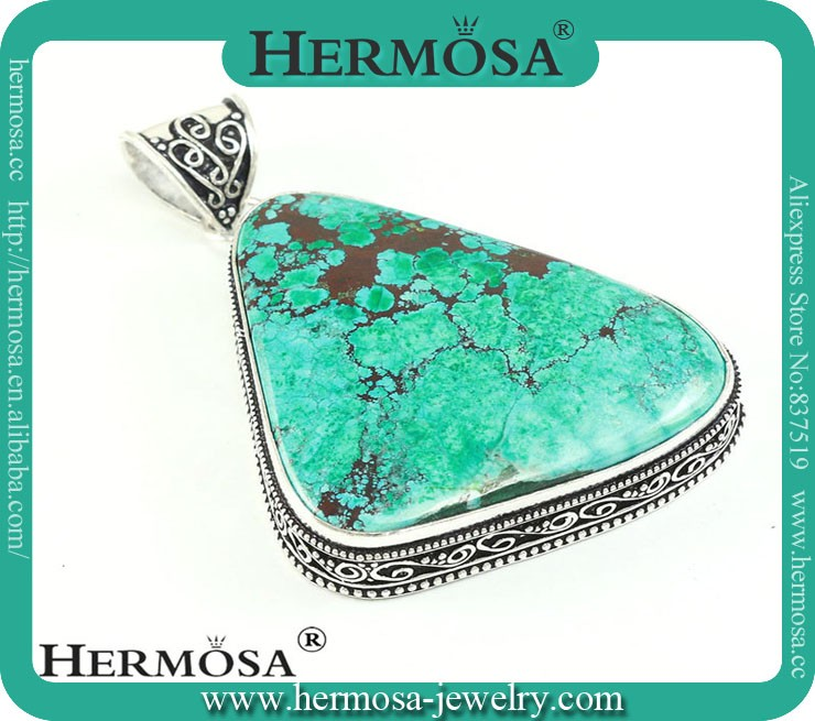Hermosa Jewelry Irregular Design 925 Sterling Silver Natural Cooper Turquoise Necklace Jewelry Unisex Pendants