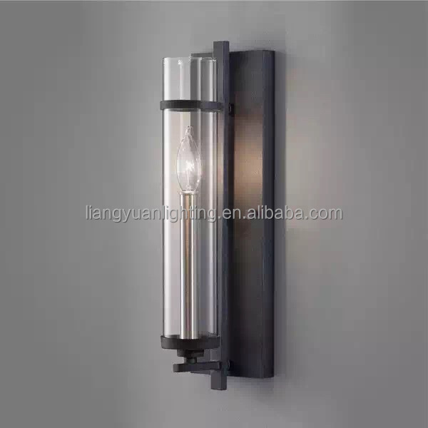 Clear explosion-proof glass wall light with black iron frame in hotel lobby wall