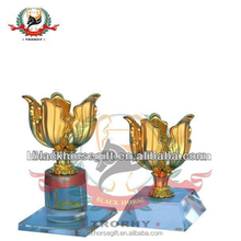 high quality metal gold flower trophy Cup