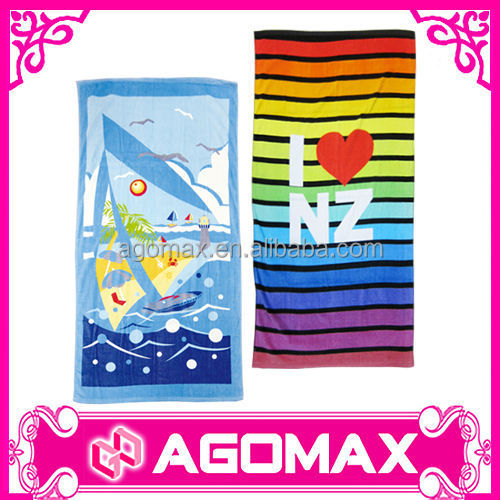 Customized OEM printed cotton polyester beach towel china