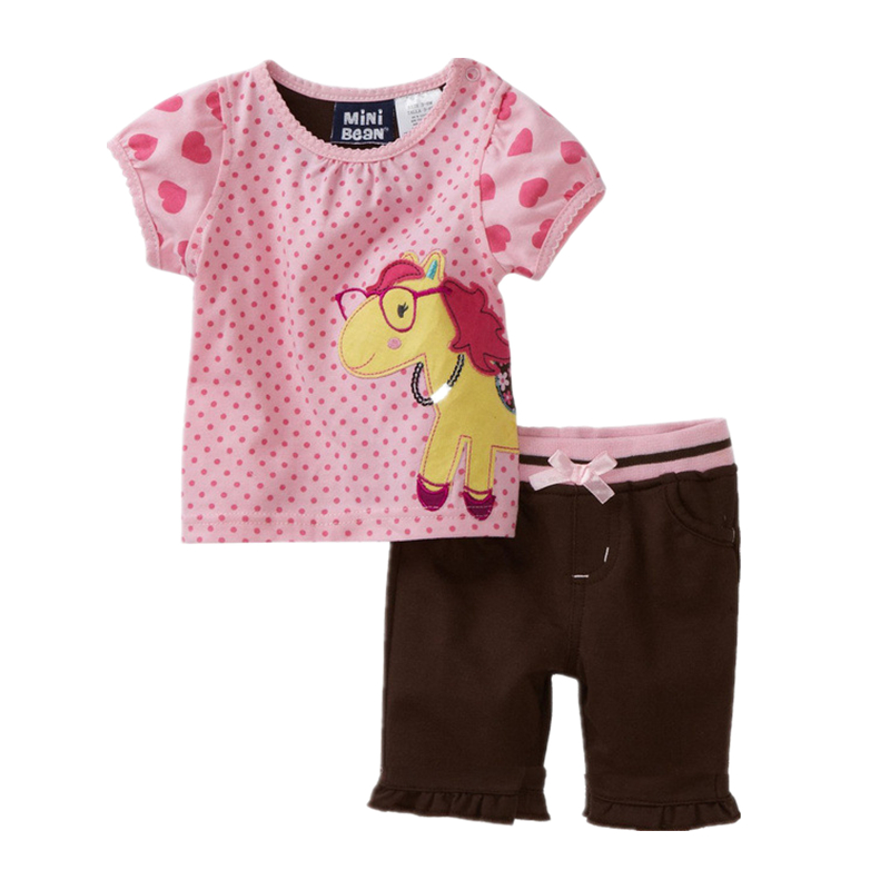 China wholesalers children girls clothing sets horse print pink t-shirt