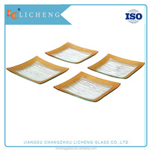 Elegant Designed Square Tempered Glass Plates Set of 4 Break and Chip Resistant - Oven Proof - Microwave Safe- dishwasher safe