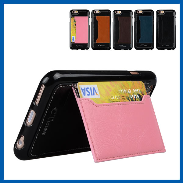 C&T Pu Leather Magnetic Closure Card Packet Kick Stand Wallet Case Cover for Apple Iphone 6s