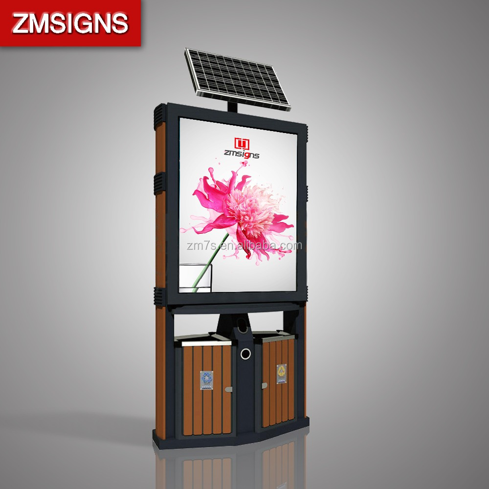 ZM-TB03 Outdoor stainless steel double poster trash can advertising light box