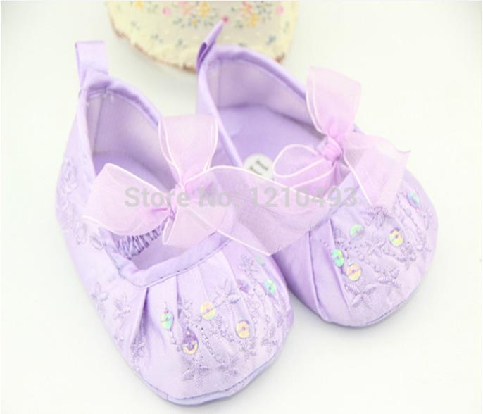 Girls Baby Mary Janes Flat First Walkers Shoes Princess Purple Blingbling Bow Infant Toddler Prewalker Footwear Whosales
