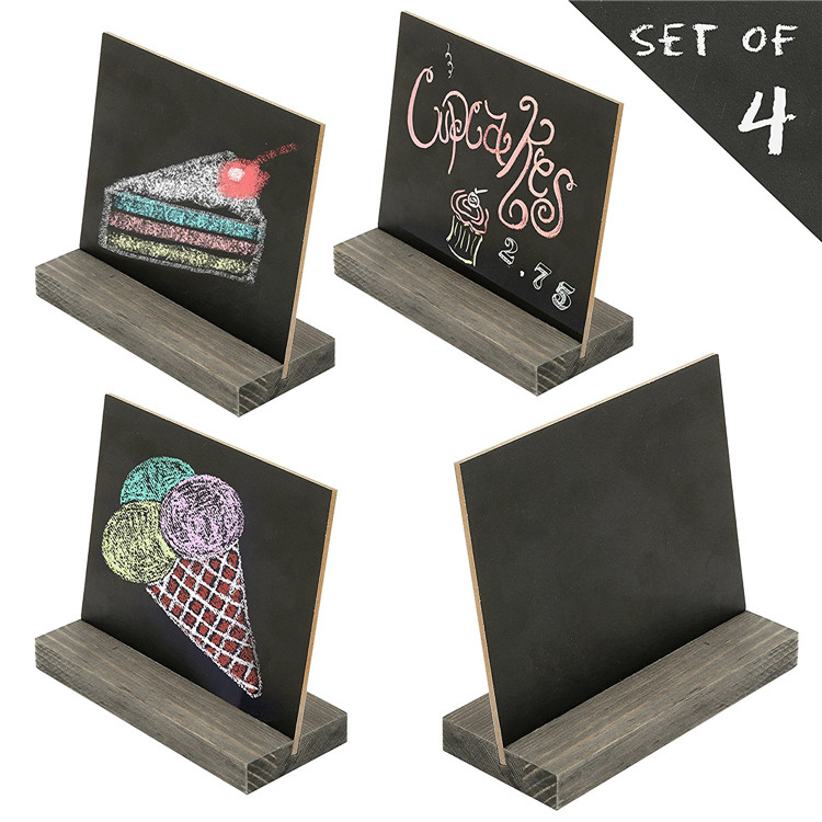 Table wooden blackboard with base to stand sturdy wood chalkboard