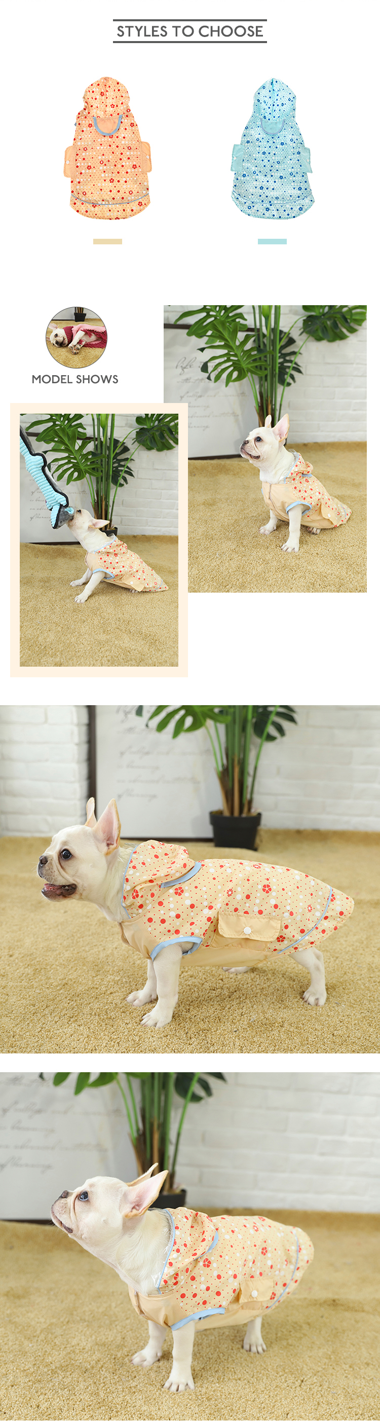 Pink Tianyuan Full Cover Raincoat Large Dog Clothes,Dog Clothes Summer Raincoat